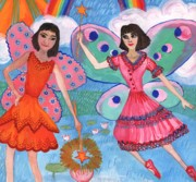 Sue Burgess Paintings - Detail of Lily Pond Fairies by Sushila Burgess