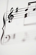 Music Studio Prints - Detail Of Sheet Music Print by Junior Gonzalez