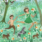 Faun Paintings - Detail of Spirits of Spring by Sushila Burgess