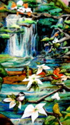 Peaceful Tapestries - Textiles Posters - Detail of Spring Poster by Kimberly Simon