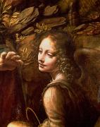 Adoration Painting Prints - Detail of the Angel from The Virgin of the Rocks  Print by Leonardo Da Vinci