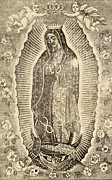 Catholic Framed Prints - Detail Of The Virgin Of Guadalupe Framed Print by Everett