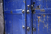 Hardware Posters - Detail Of Weathered Blue Doors Poster by David Evans
