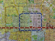 City Streets Prints - Detail View Of A Beijing Map Showing Print by Richard Nowitz