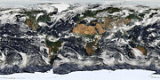 Equirectangular Posters - Detailed Satellite View Of Earth Poster by Stocktrek Images