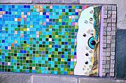 Featured Glass Art - Details of Entry Mosaic with fused and stained glass inclusions by Jolinda Marshall