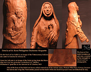 Native American Sculpture Prints - Details of Symbols on Saint Rose Philippine Duchesne Sculpture. Print by Adam Long
