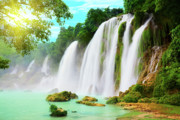 Ban Gioc Framed Prints - Detian waterfall Framed Print by MotHaiBaPhoto Prints