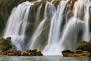 Detian Framed Prints - Detian Waterfall Framed Print by Qian Jinqun