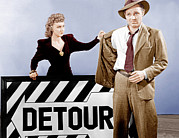 Detour Posters - Detour, From Left Ann Savage, Tom Neal Poster by Everett