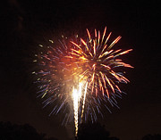 Pyrotechnics Prints - Detroit Area Fireworks -2 Print by Paul Cannon