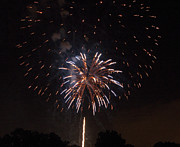 Pyrotechnics Prints - Detroit Area Fireworks -5 Print by Paul Cannon