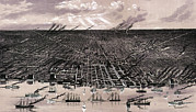1880s Framed Prints - Detroit. Birds Eye View--showing Framed Print by Everett