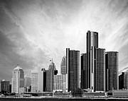 Renaissance Center Framed Prints - Detroit Black and White Skyline Framed Print by Alanna Pfeffer