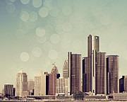 Downtown Detroit Framed Prints - Detroit Dreamy Skyline Framed Print by Alanna Pfeffer