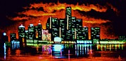 Detroit Painting Posters - Detroit in Black Light Sold Poster by Thomas Kolendra