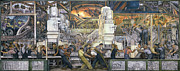 Automobile Paintings - Detroit Industry   North Wall by Diego Rivera