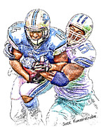 Dallas Digital Art Metal Prints - Detroit Lions Jahvid Best - Dallas Cowboys Bradie James Metal Print by Jack Kurzenknabe