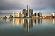 Detroit Posters - Detroit Michigan Skyline Reflections Poster by Linda Goodhue Photography