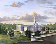White Clouds Prints - Detroit Michigan Temple Print by Jeff Brimley