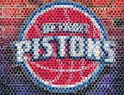 Nba Mixed Media Posters - Detroit Pistons Mosaic Poster by Paul Van Scott