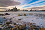 Ontario Digital Art Originals - Detroit River in winter by Cosmin Nahaiciuc
