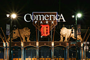 Baseball Bat Digital Art Metal Prints - Detroit Tigers - Comerica Park Metal Print by Gordon Dean II