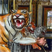 Sports Posters - Detroit Tigers Carousel Poster by Michelle Calkins