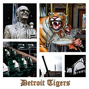 Baseball Teams Posters - Detroit Tigers Collage Poster by Michelle Calkins
