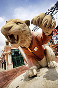 Baseball Digital Art Originals - Detroit Tigers Tiger statue outside of Comerica Park Detroit Michigan by Gordon Dean II