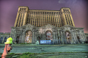Old School House Digital Art Posters - Detroits Abandoned Train Station Poster by Nicholas  Grunas