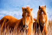 Wild Horses Digital Art Prints - Deuces Wild Print by Steven Richardson