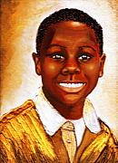 Keenya Woods Mixed Media - Deven Golden Smile by Keenya  Woods