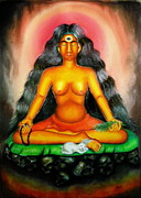 Meditation Pastels - Devi Kali goddess by Sri Mala