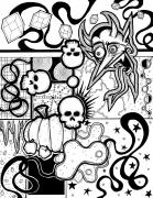 Creepy Drawings Prints - Devil Montage Print by Christopher Capozzi