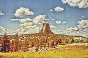 Summit Painting Posters - Devils Tower Poster by Maciej Froncisz