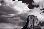 Cliff Photo Originals - Devils Tower Wyoming BW by Steve Gadomski