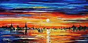 Building Painting Originals - Devinne Reflections by Leonid Afremov