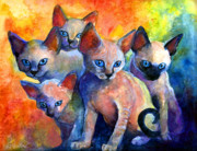 Whimsical Cat Art Prints - Devon Rex kittens Print by Svetlana Novikova