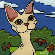 Whiskers Prints - Devon Rex Print by Leanne Wilkes