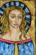 Christian Art . Devotional Art Painting Metal Prints - Devonee Metal Print by Rain Ririn