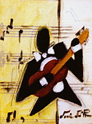 Original Paintings - Devoted Guitar Player by Lori McPhee