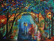 Rainy Street Painting Originals - Devoted To You by Leslie Allen