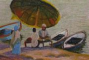 India Pastels Metal Prints - Devotees at the Ganges River Metal Print by Art Nomad Sandra  Hansen