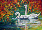 Swans... Paintings - Devotion by Ann Marie Bone