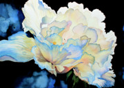 Hanne Lore Koehler Print Paintings - Dew Drops on Peony by Hanne Lore Koehler