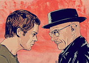 White Drawings Posters - Dexter and Walter Poster by Giuseppe Cristiano