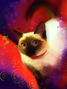 Pictures Of Cats Digital Art Prints - Dexter Print by Laurie Cook