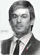 Serial Killer Drawings - Dexter Morgan by Erin Gibson