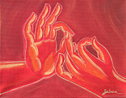 Buddhist Painting Originals - Dharmachakra Mudra by Sabina Espinet